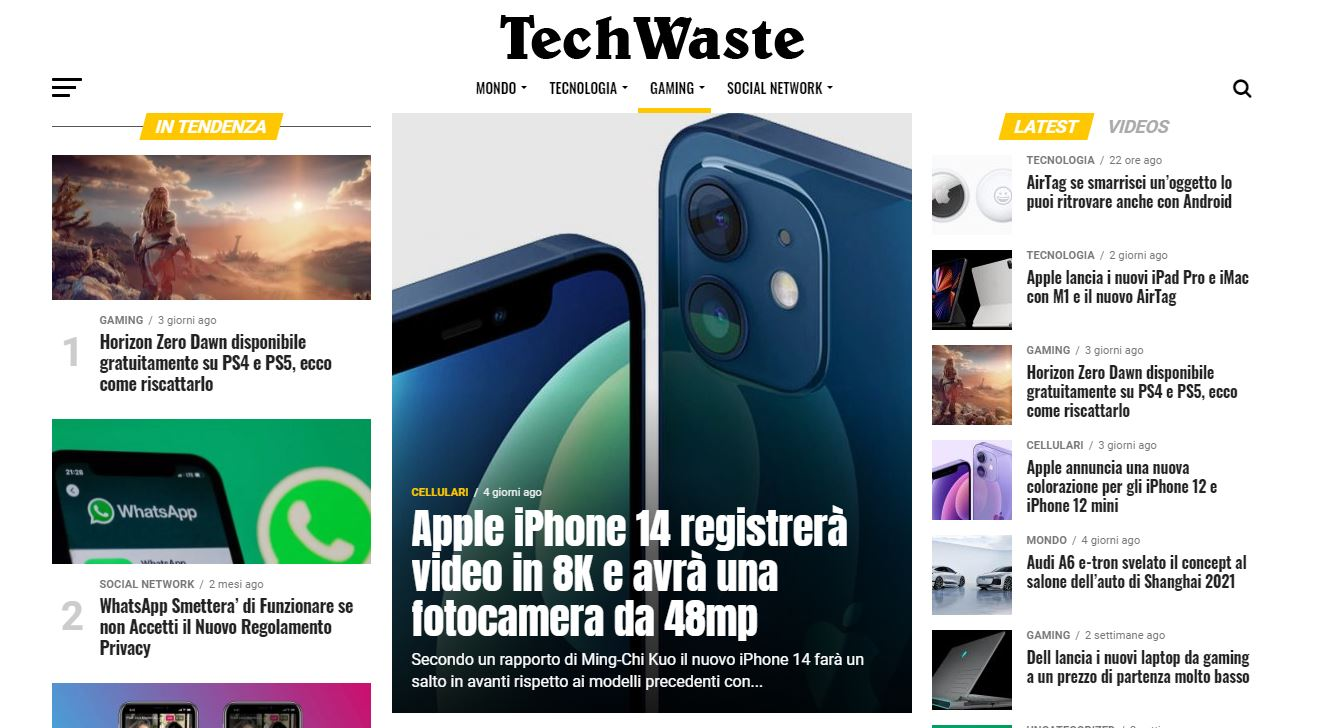 TechWaste Website HomePage